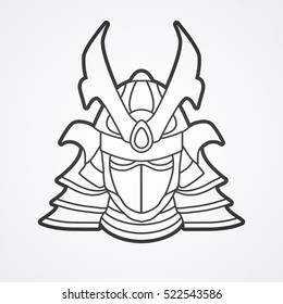 Samurai mask outline graphic vector.