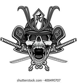 samurai mask skull t-shirt design