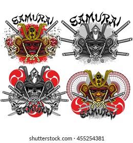 samurai mask skull t-shirt design sets