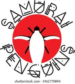 Samurai penguin logo design. Penguin with swords stands in front of red sun.
