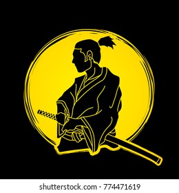 Samurai ready to fight action designed on moonlight background graphic vector