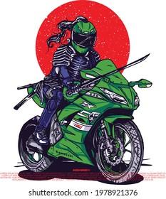 samurai riding illustration for merchandise or poster design