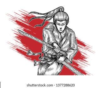 Samurai Ronin Attacking With His Katana, Hand Drawn Illustration, Isolated Vector