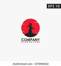 Samurai Ronin Logo Design Vector Template. Modern Design. Vector Illustration