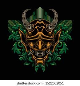 Samurai ronin mask floral vector illustration art design for t-shirt poster and other