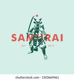 Samurai ronin modern mix vintage logo template