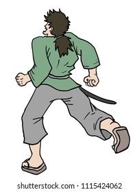 samurai runnig draw
