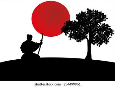samurai silhouette images stock photos amp vectors