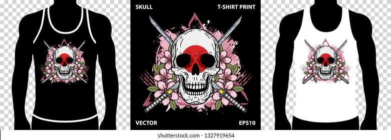 Samurai skull. Skull of kamikaze with crossed katanas. Vector illustration for printing on t-shirts, stickers, posters and more.