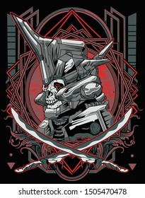 samurai skull robot with sacred geometry