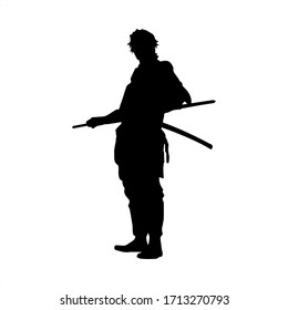 samurai slhouette ninja japanese illustration