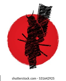 Samurai standing designed on sunrise background graphic vector.