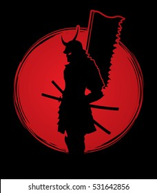 Samurai standing designed on sunset background graphic vector.