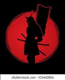 Samurai standing designed on sunset background graphic vector.