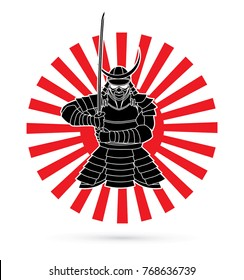 Samurai standing front view ready to fight designed on sunshine background graphic vector.