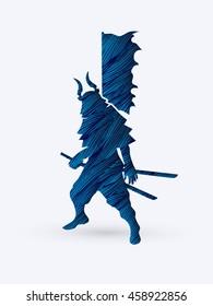 Samurai standing ready to fight designed using blue grunge brush graphic vector.
