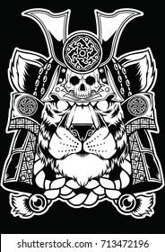 Samurai Tiger Face Head Tattoo Design Vector Animal