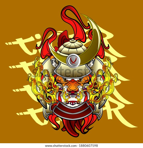 samurai tiger head illustration design for sukajan is mean japan traditional cloth or t-shirt with digital hand drawn Embroidery Men T-shirts Summer Casual Short Sleeve Hip Hop T Shirt Streetwear