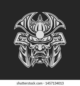 Samurai Vector Illustration on dark background