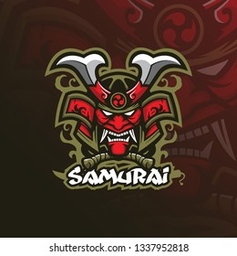 samurai vector mascot logo design with modern illustration concept style for badge, emblem and tshirt printing. angry mask samurai illustration.