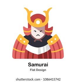 Samurai warior flat illustration