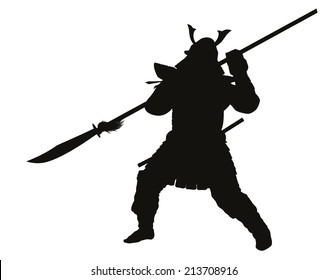 Samurai warrior with halberd fighting detailed vector silhouette. EPS 8