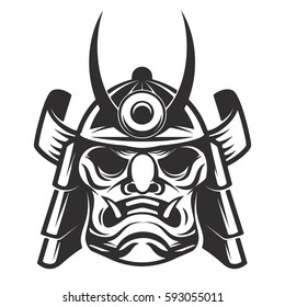 Samurai warrior helmet isolated on white background. Design elements for logo, label, emblem. Vector illustration.