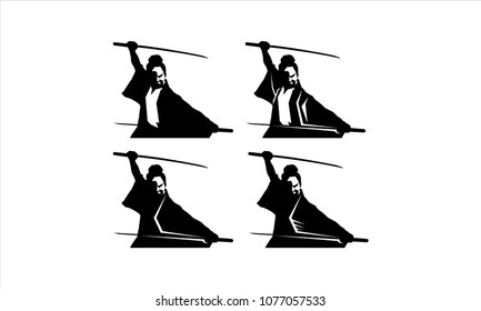 samurai warrior japan logo. samurai sword.