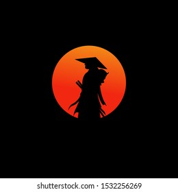 samurai warrior japan logo template. icon samurai sword.