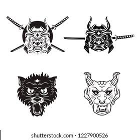Samurai Warrior With Katana Sword, angry wolf head and demon head.