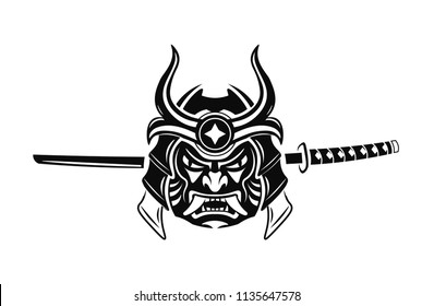 Samurai Warrior With Katana Sword. Samurai mask Japanese. Ronin. Vector illustration.