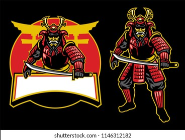 samurai warrior mascot set