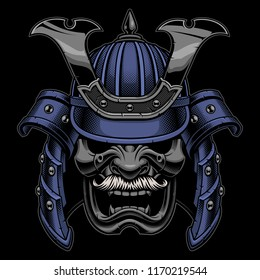 Samurai warrior mask with mustache on dark background.