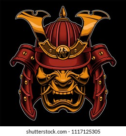 Samurai warrior mask. Traditional armor of  japanese warrior. Vector illustration, shirt graphic. All elements; mask, helmet, colors are on the separate layers and editable. (COLOR VERSION).