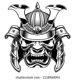 Samurai warrior mask. Traditional armor of  japanese warrior. Vector illustration, shirt graphic. Isolated on white background.