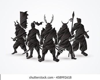 Samurai Warrior pose designed using black grunge brush graphic vector.
