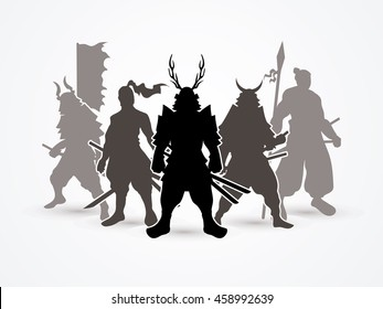 Samurai Warrior pose graphic vector.