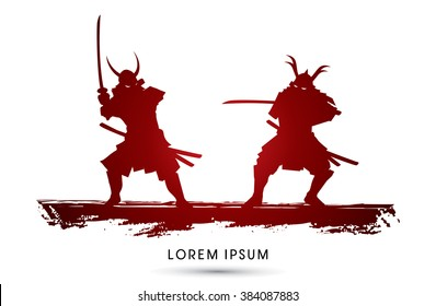 Samurai Warrior with sword, Ready to fight graphic vector
