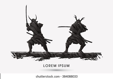 Samurai Warrior with sword, Ready to fight designed using grunge brush graphic vector