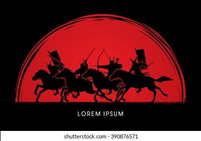 Samurai Warriors Riding Horses, designed on sunset background graphic vector.