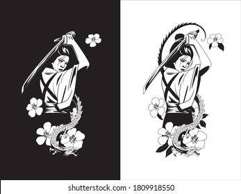 samurai woman with the dragon and flowers