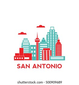 San Antonio city architecture retro vector illustration, skyline city silhouette, skyscraper, flat design