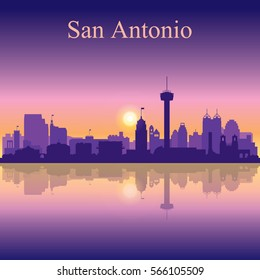 San Antonio silhouette on sunset background, vector illustration