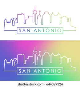 San Antonio skyline. Colorful linear style. Editable vector file.