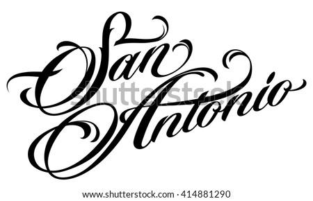 San Antonio Tattoo Script Stock Vektorgrafik Lizenzfrei 414881290