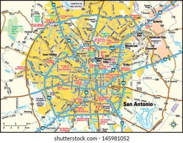 San Antonio, Texas area map