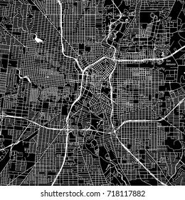 San Antonio, Texas. Downtown vector map. City name on a separate layer. Art print template. Black and white.