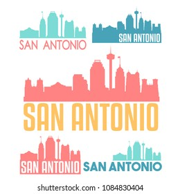 San Antonio Texas Flat Icon Skyline Vector Silhouette Design Set