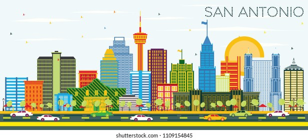 San Antonio Texas Skyline with Color Buildings and Blue Sky. Vector Illustration. Business Travel and Tourism Concept with Modern Architecture. San Antonio Cityscape with Landmarks.