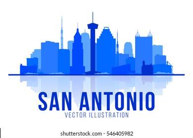 San Antonio Texas (United States) silhouette skyline vector background. Flat trendy illustration.